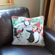 Buy Online Gift Shop Set of 2 Skating Penguins Christmas Throw Pillow Covers