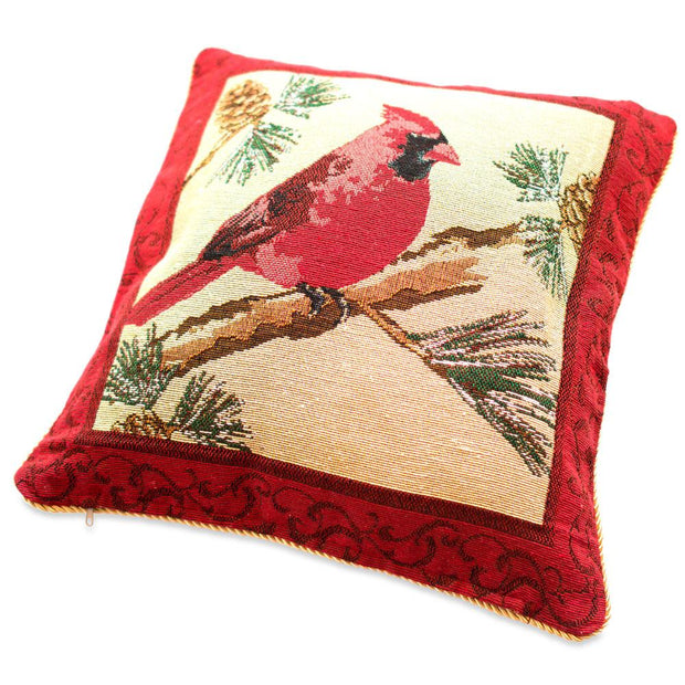 Set of 2 Red Cardinal Christmas Throw Cushion Pillow Covers