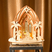 Laser Cut Wooden Nativity Scene Set with LED Lights 11 Inches