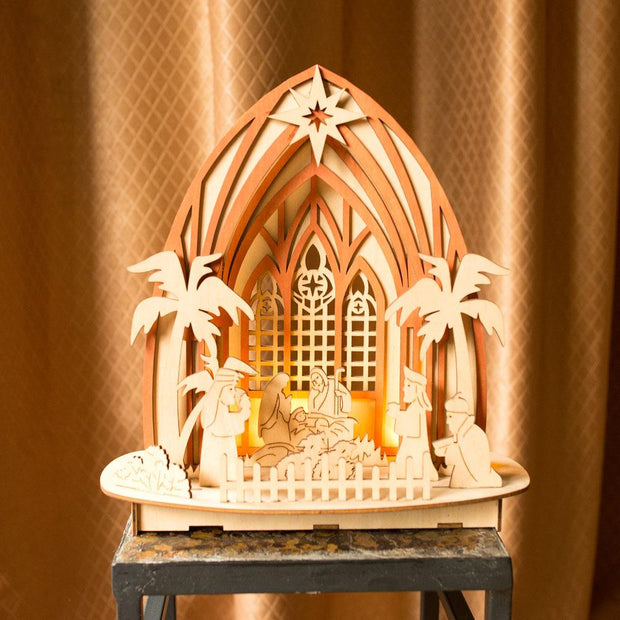 Wooden Nativity Scene Set with LED Lights 11 Inches