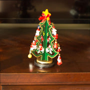 Set of 2 Tabletop Christmas Trees with Miniature Wooden Ornaments 6.5 Inches