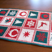 Reindeer Square Patterns Christmas Tablecloth Holiday Runner 75 Inches