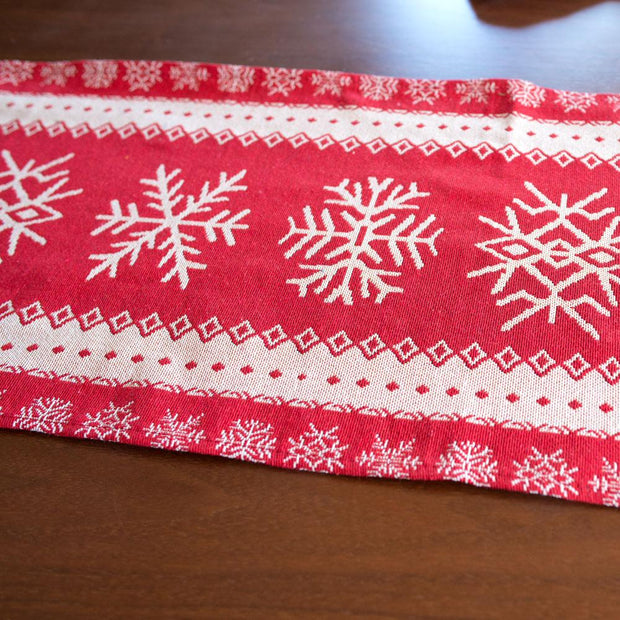 Snowflakes on Red Pattern Christmas Tablecloth Holiday Runner 76.5 Inches