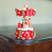 Rotating Carousel with Santa and Reindeer Christmas Musical Box