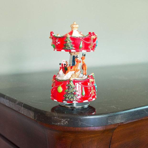 Santa and Reindeer Riding Carousel Spinning Musical Christmas Figurine