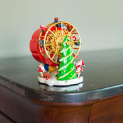 Spinning Ferris Wheel with Santa and Christmas Tree Musical Figurine
