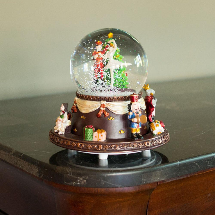 Nutcracker Dancing with Clara Spinning Musical Water Snow Globe