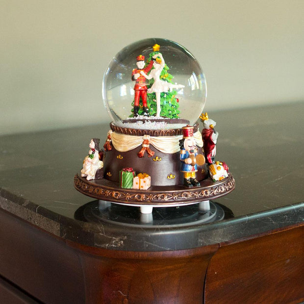 Nutcracker Dancing with Clara Spinning Musical Snow Globe