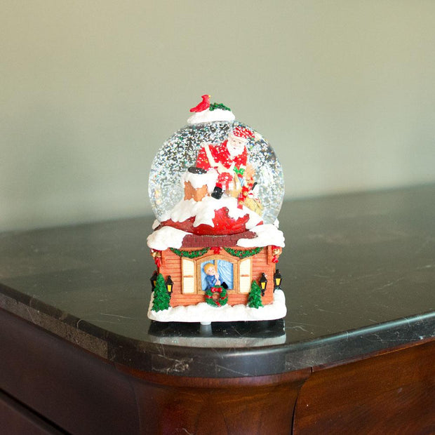 Santa on the Chimney with Christmas Gifts Musical Snow Globe