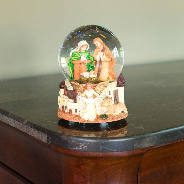Nativity Scene with Guardian Angel Musical Snow Globe