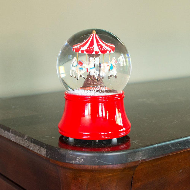 Buy Online Gift Shop Red Carousel Spinning Musical Water Snow Globe