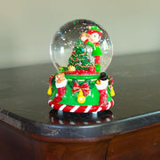 Elf Decorating Christmas Tree with Ornaments Musical Snow Globe
