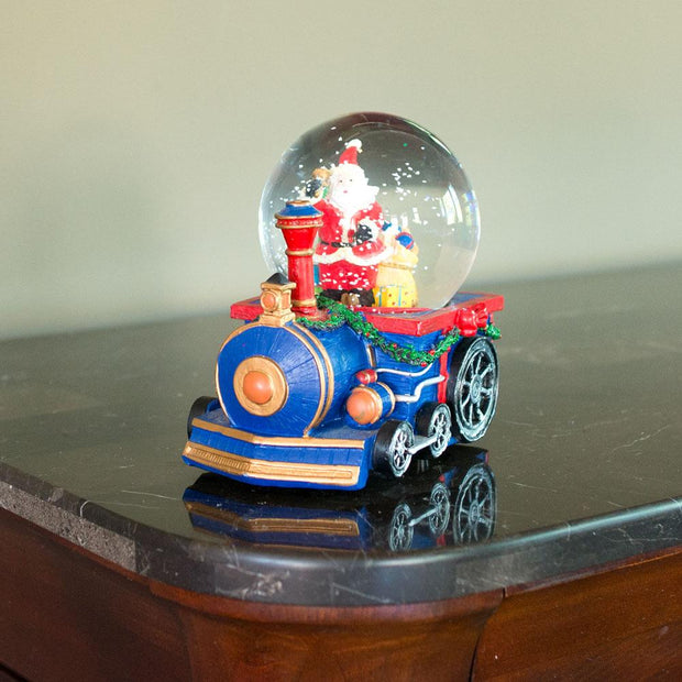 Santa Delivering Christmas Gifts by Train Musical Water Snow Globe