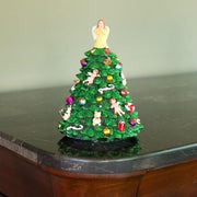Tabletop Christmas Tree with Angel Rotating Musical Figurine