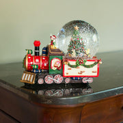 Train With Children and Christmas Tree Musical Water Snow Globe