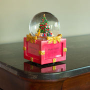 Christmas Tree on a 4-Sided Picture Frames Water Snow Globe with Music Box