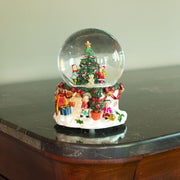 Cheerful Kids Decorating Christmas Tree Musical Water Snow Globe