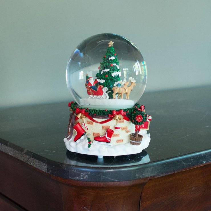 Santa by Christmas Tree Rotating Musical Water Globe