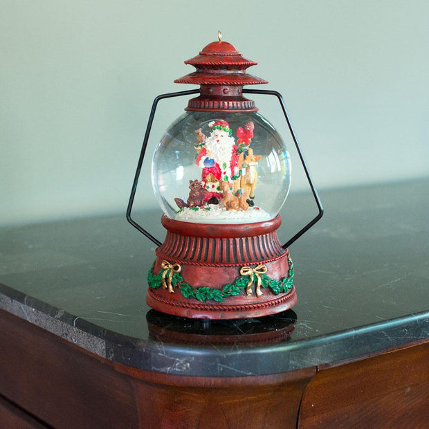 Red Lantern with Santa and Forest Animals Musical Water Snow Globe Figurine