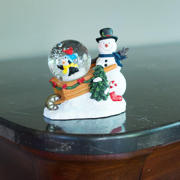 Buy Online Gift Shop Snowman with Cheerful Penguin and Cardinal Mini Water Snow Globe