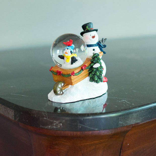 Snowman with Cheerful Penguin and Cardinal Mini Water Snow Globe