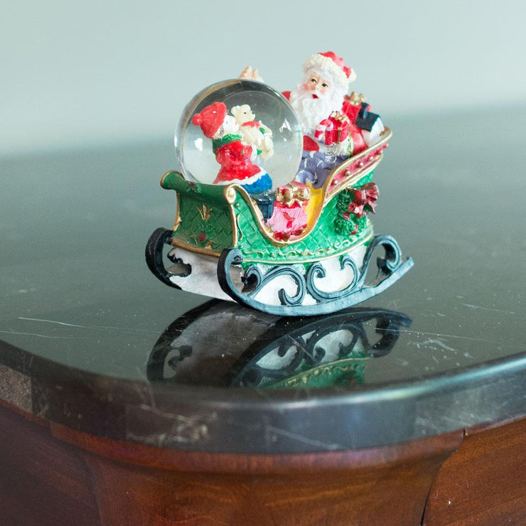 Santa on a Rocking Sleigh Mini Water Snow Globe