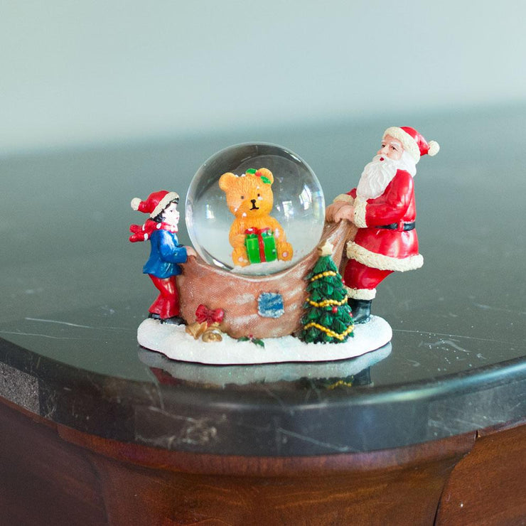 Buy Online Gift Shop Santa Opening a Teddy Bear Gift Mini Water Snow Globe