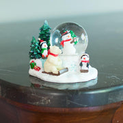 Cheerful Snowman, Polar Bear and Penguins Mini Water Snow Globe