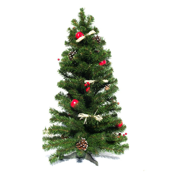 Buy Online Gift Shop Ukrainian Tabletop Christmas Tree w. Straw Bows, Apples & Pine Cones 27.5 Inches