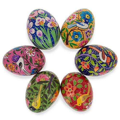 Set of 6 Birds Ukrainian Wooden Easter Eggs Pysanky 3 Inches
