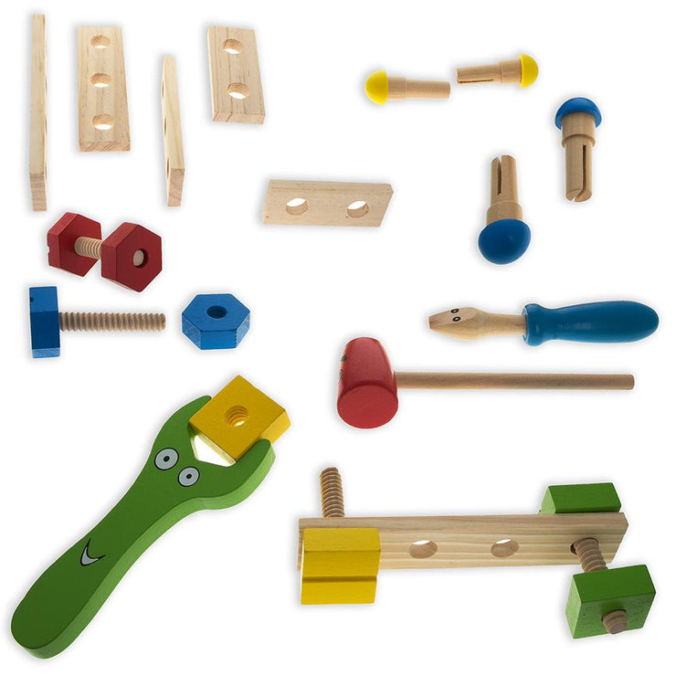 21 Pieces Construction Building Tools in Wooden Toolbox