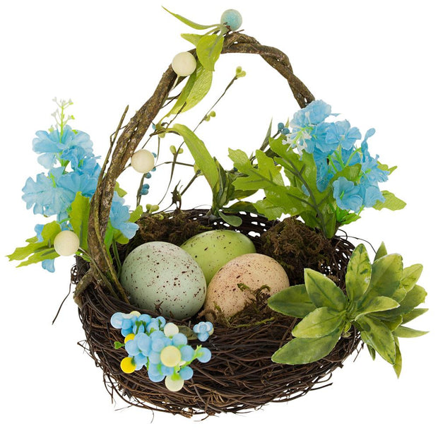 Set of 3 Easter Baskets with Eggs and Spring Flowers