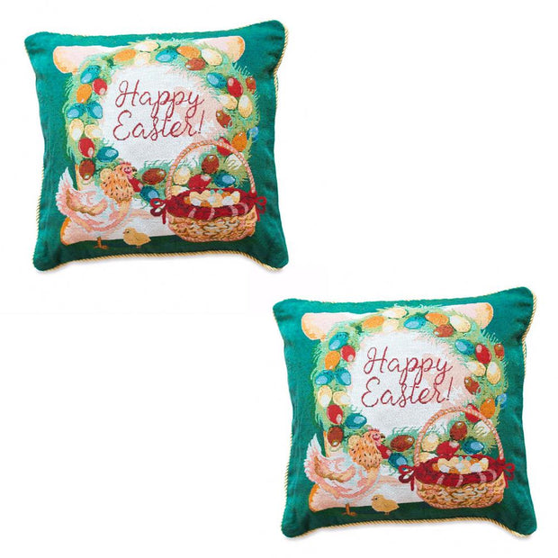 Set of 2 Happy Easter & Easter Eggs Throw Pillow Covers by BestPysanky