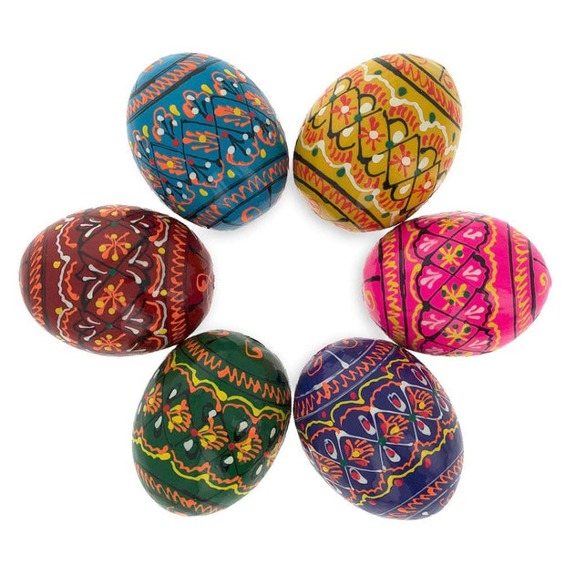 Set of 6 Miniature Ukrainian Wooden Easter Eggs Pysanky 1.5 Inches by BestPysanky