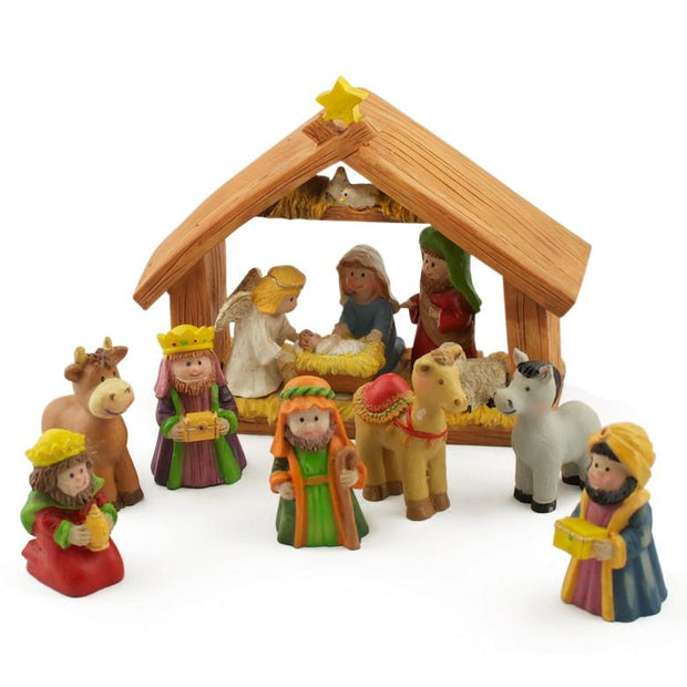 Miniature Nativity Scene Set  with 2 Inches Resin Figurines 5 Inches x 6 Inches by BestPysanky
