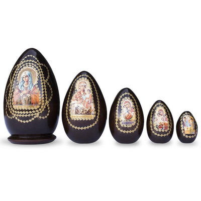 Set of 5 Virgin Mary Icons Wooden Nesting Dolls 6.5 Inches by BestPysanky