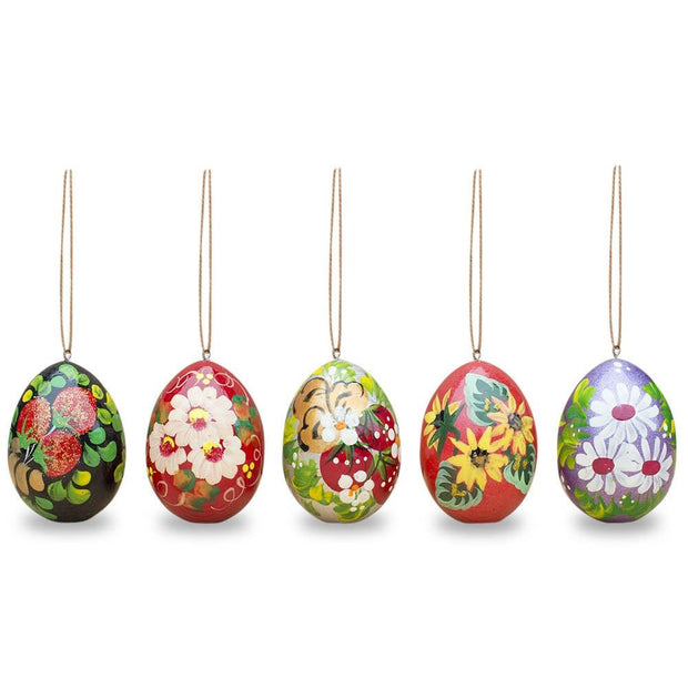 Set of 5 Floral Wooden Pysanky Easter Egg Ornaments 2.5 Inches by BestPysanky