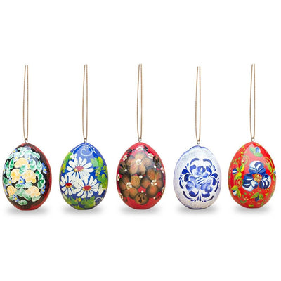 Set of 5 Flowers Wooden Pysanky Easter Egg Ornaments by BestPysanky