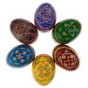 Set of 6 Traditional Ukrainian Pysanky Wooden Easter Eggs 2.25 Inches by BestPysanky