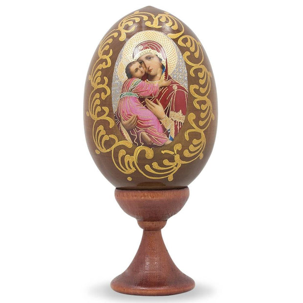 Mary Holding Jesus Wooden Russian Easter Egg Icon 4 Inches by BestPysanky