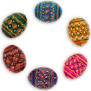 Set of 6 Miniature Ukrainian Wooden Easter Eggs Pysanky 1.5 Inches