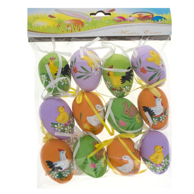 Set of 12 Hand Painted Plastic Easter Egg Ornaments 2.25 Inches by BestPysanky