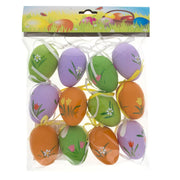Set of 12 Hand Painted Plastic Easter Egg Ornaments 2.25 Inches
