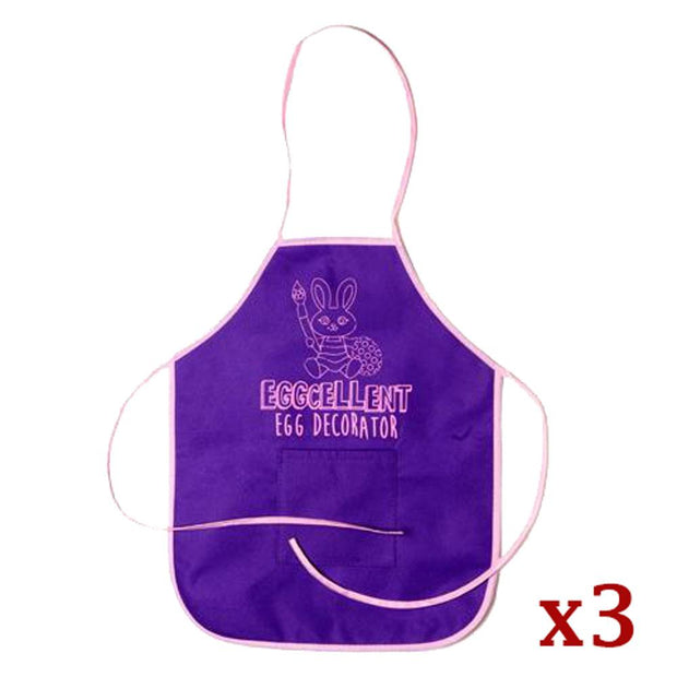 Set of 3 Egg Decorating Apron with Pockets 17.25 Inches