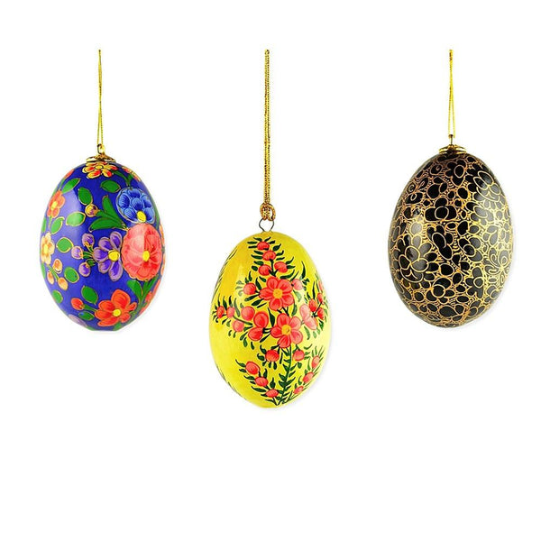 "BestPysanky Easter Eggs > Easter Ornaments - 3"" Set of 3 Blue, Black and Yellow Flowers Wooden Easter Egg Ornaments"