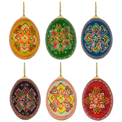 Set of 6 Stars Ukrainian Pysanky Wooden Easter Egg Ornaments 2.5 Inches by BestPysanky
