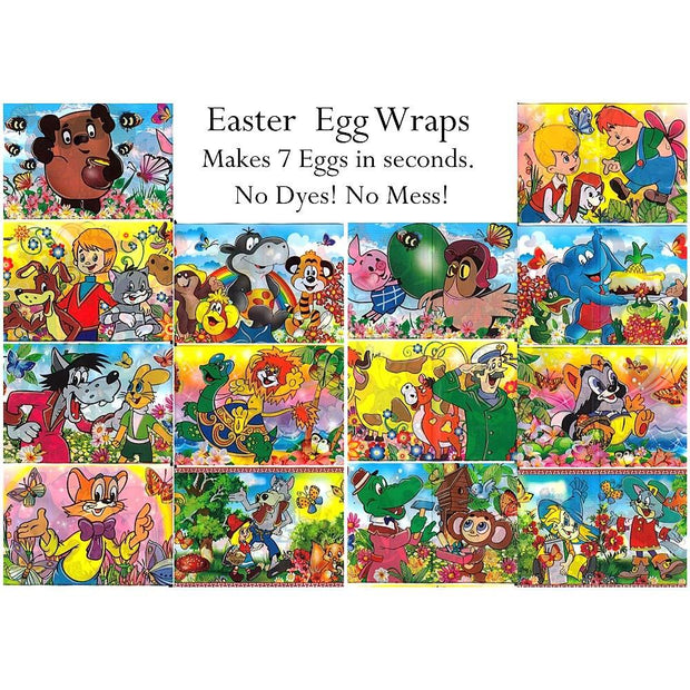 7 Cartoon Characters Easter Egg Wraps by BestPysanky