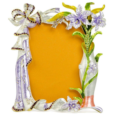 Orchid Flowers Enameled Russian Antique Style Picture Frame 7 Inches by BestPysanky