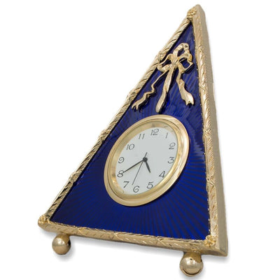 Blue Triangle Enameled Guilloche Russian Antique Style Clock 5 Inches by BestPysanky