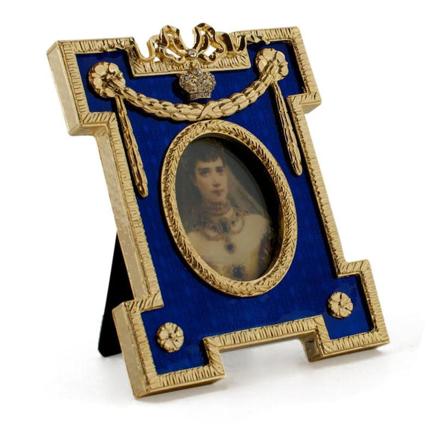 Blue Enameled Guilloche Russian Royal Picture Frame by BestPysanky